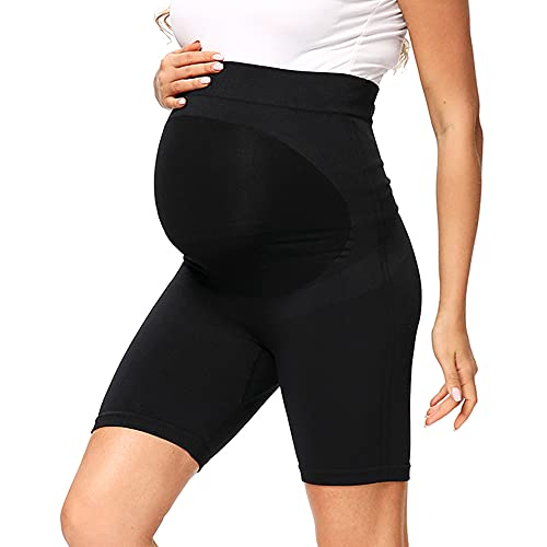 Leggins Premama Cortos Mujer Ropa Premama Verano Pantalon Corto Premama EláSticos y Comodos Leggins Embarazada Mujer (Negro A, M)