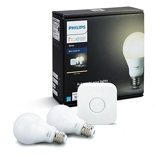 Lâmpada LED - 60W / A19 / Branca - Philips Hue Starter (Kit c/ 2 lâmpadas A19 brancas + 1 Hub), Compatível com Alexa