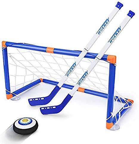 Wuudi Kinderspielzeug-LED-Eishockey-Schwebeflug gesetzt 2 Ziele Mini-Schraubenzieher-Air Force Trainingsball, um Eishockey-Spiel-Hockey-Spielzeug 3-12 Jahre Alten Jungen und Mädchen Spielen