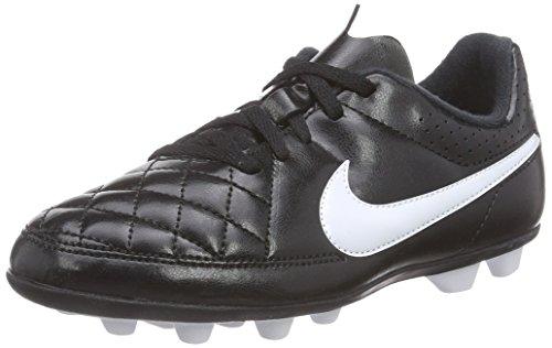 Nike Junior Tiempo Rio II FG-R, Chaussures de football mixte enfant, Blanc - Weiß (Black/White), 38.5