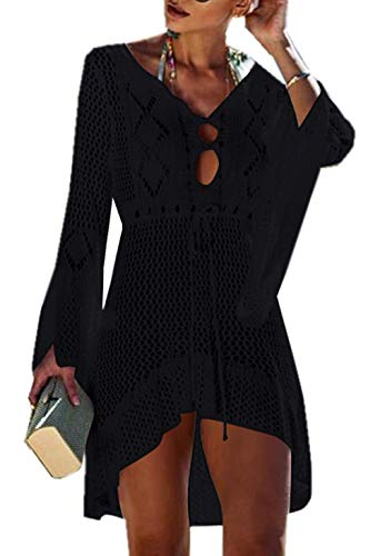 ZIYYOOHY Elegant Crochet Stricken Bikini Cover Up Boho Strandponcho Strandkleid (One Size, Z-Schwarz)