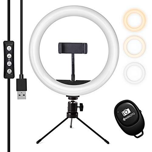 Geekoto Selfie Make-up Ringleuchte Stativ, 10-Zoll-Tischringlicht Mit Fernbedienung, Tischringlicht Mit 3 Farben und 10 Helligkeitsstufen,Live Licht für Schöne, Live Streaming, YouTube, Instagram usw.