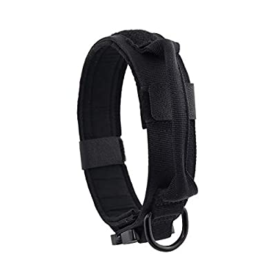 """Yunlep Adjustable Tactical Dog Collar Heavy Duty Metal Buckle with Control Handle for Dog Training,1.5"""" Width (M, Black)"""
