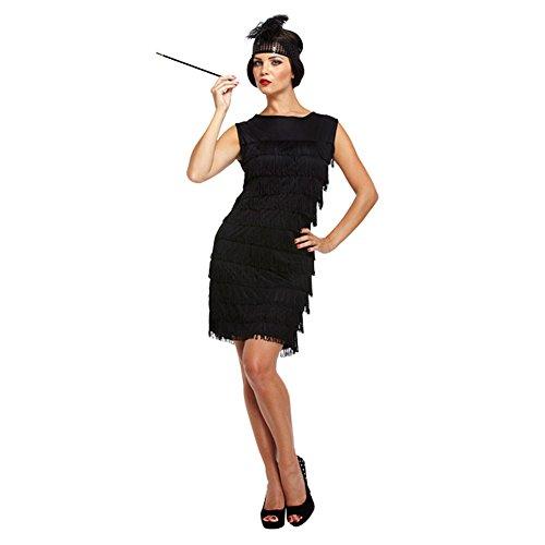 Damen Sexy Schwarz 1920s Fransen Flapper Mädchen Charleston Kostüm Kleid Outfit STD &Übergröße - Schwarz, STD (UK 10-14)