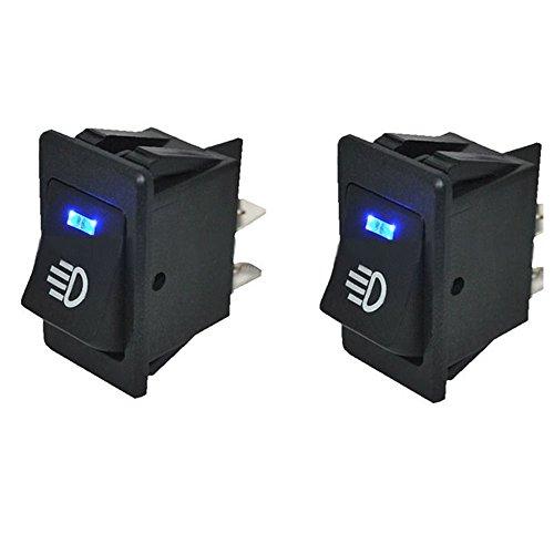 HOTSYSTEM 12V 35A Auto KFZ Schalter für Nebelscheinwerfer Scheinwerfer Wippschalter Ein-/Ausschalter Blau LED beleuchtet Wechsel Switch Kippenschalter 4 Polig