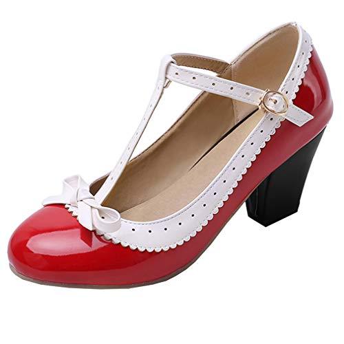 LOVOUO Mary Jane Cosplay Femme Lanière Escarpin Vintage Rockabilly Lolita Talon Carré Bloc Haut Vernis avec Noeud Boucles Chaussures 7CM(Rouge,36)