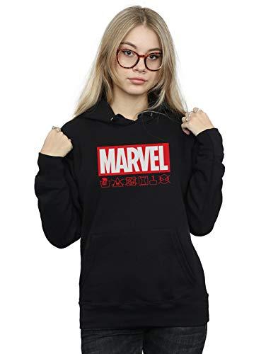 Marvel Damen Logo Wash Care Kapuzenpullover Schwarz Medium