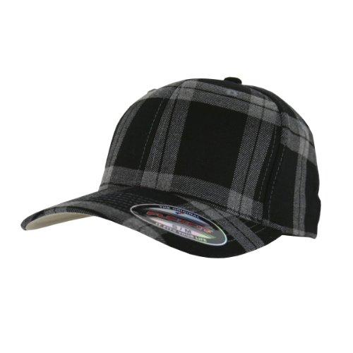 Flexfit Karo Cap Tartan Plaid black grey - L/XL
