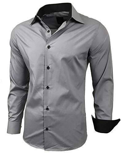 Baxboy Herren-Hemd Slim-Fit Bügelleicht Für Anzug, Business, Hochzeit, Freizeit - Langarm Hemden für Männer Langarmhemd R-44, Farbe:Grau, Größe:M