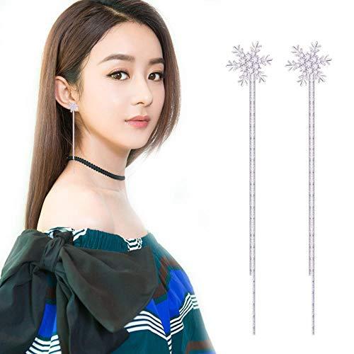 KFYU Diamante Estrella Luna arroz Largo párrafo Borla Oreja Cable Hembra 1#...