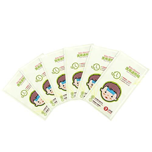 Fovely Parche de enfriamiento de la Fiebre - 6PCS Almohadillas de Gel de enfriamiento de Verano Parches antipiréticos Hojas de Pegatina de enfriamiento de la Frente Adecuado para Adultos y niños