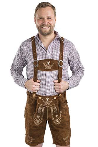 Herren Alpenjäger Lederhosen Trachten Hose kurz Oktoberfest Trachtenlederhose Wasen Wiesn Trachtenhose Oktoberfest Hose (50, mittelbraun)