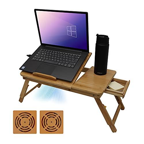 Redlemon Mesa Plegable para Laptop de Madera de Bambú con 2 Ventiladores, 4 Niveles de Inclinación Ajustable y 2 Niveles de Altura, Mesa para Laptop Gamer, Escritorio para Computadora con Portavasos