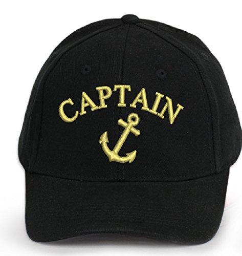 4sold capitano berretto cap Captain Cabin Boy Crew Berretto da baseball iscrizione scritta NERO BIANCO ROSSO BIANCO Military Berretto da baseball Security Anchor Captain Taglia unica