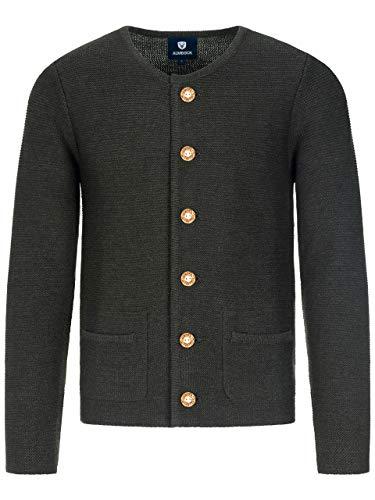 ALMBOCK Trachtenjacke Herren schwarz - schwarze Strickjacke aus weicher und wärmender Naturwolle - Trachtenweste Herren anthrazit - Trachtenjacke 54