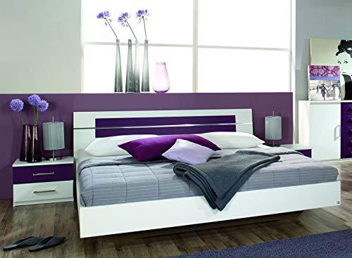 Rauch Möbel Burano Bett Doppelbett mit 2 Nachttischen, Weiß / Brombeer, Liegefläche 160x200 cm, Stellmaß Bett-Anlage inklusive Nachttische BxHxT 265x82x213 cm