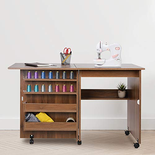 HOMFY Sewing Machine Table with Lockable Wheels Movable Craft Table with Storage Shelves Folding Sewing Cabinet for Adults White/Brown (Brown)