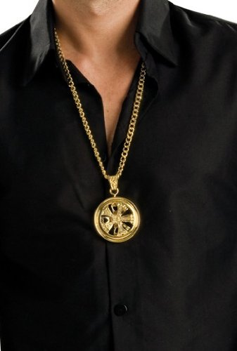 Rubie's Hustlah Spinner Necklace Costume, Gold, One Size