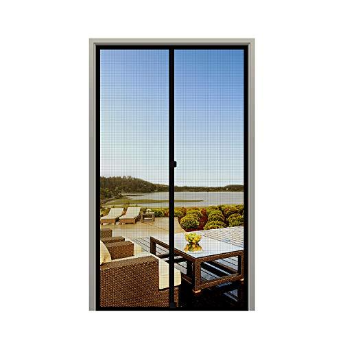 MAGZO Screen Door Magnets 34 x 82, Durable Fiberglass Door Mesh with Full Frame Hook&Loop for Back Door Fits Door Size up to 34'x82' Max-Black
