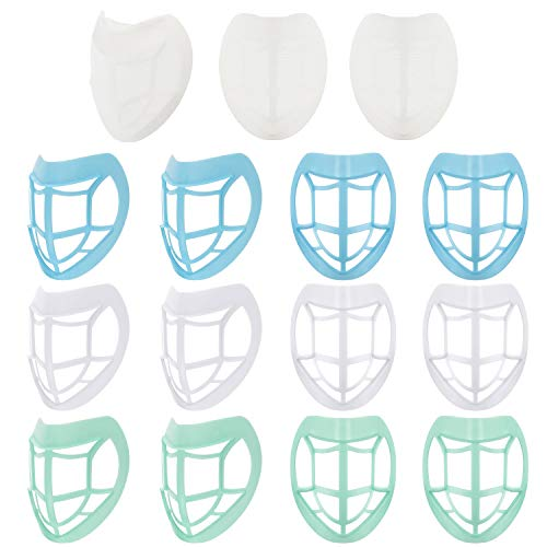 12 Pieces Lipstick Protection Bracket 3D Face Nose Mouth Bracket Nose Pad Face Inner Support Bracket with 3 Pieces Bracket Cover to Prevent Makeup Removal Enhance Breathing Space Help Breathe Smoothly