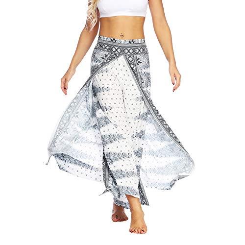 Lu's Chic Women's Boho Pants Wide Leg Palazzo Slit Yoga Workout Palazzo Hippie Beach Pants Pattern5 L/XL