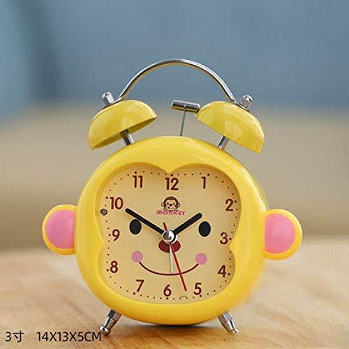 FPRW wekker grote wekker met 3 polen, geluidsarme nachttafelzwekker minimalistisch heldere aap voor karton, snooze, geel