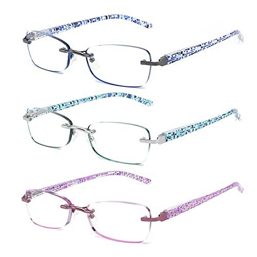 CRGATV 3 Pack Rimless Reading Glasses Blue Light Blocking Stylish Tinted Readers Eyeglasses for Women Anti UV/Eye Strain/Glare (+4.0 Magnification)
