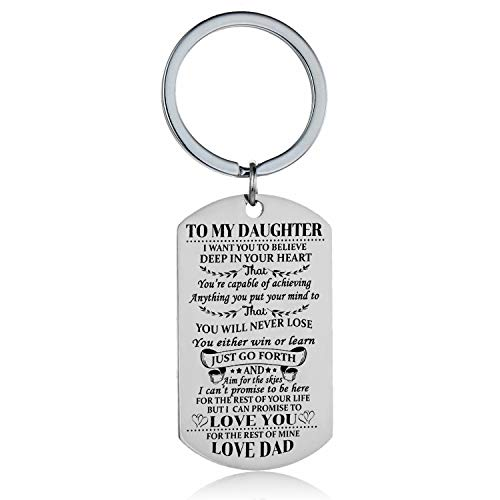 Daughter Keychain Key Ring Believe Inspirational Gifts from Dad Mom Birthday Graduation Christmas Gifts Jewelry For Daughters (Dad To Daughter)