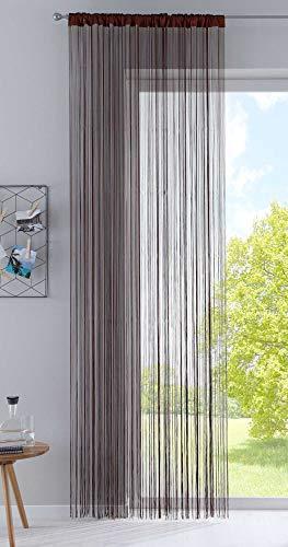 Fadengardine, HxB 250x140 cm, Braun mit Tunneldurchzug und eingenähtem Kräuselband, geeignet für Gardinenstangen und Gardinenschienen Fadenvorhang Fadenstore Raumteiler, 20303CN