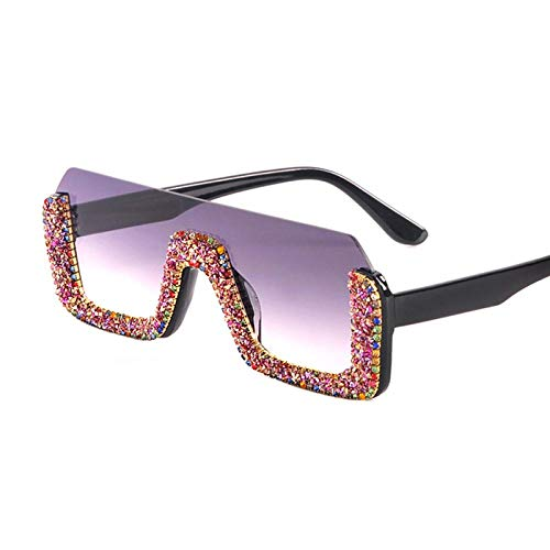 OcchialidaSoledaUomo Occhiali da Sole Quadrati di Cristallo di Lusso da Donna Mezza Montatura Occhiali da Sole di Strass Oversize Occhiali da Vista da Uomo per Donna Uv400 3