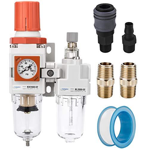 NANPU 1/4' NPT Embedded Gauge Compressed Air Filter, Regulator&Lubricator Combo Water/Oil Trap Separator - 0-180 psi Gauge, Semi-Auto Drain, Poly Bowl, Metal Bracket - 3 in 1 Two Unit