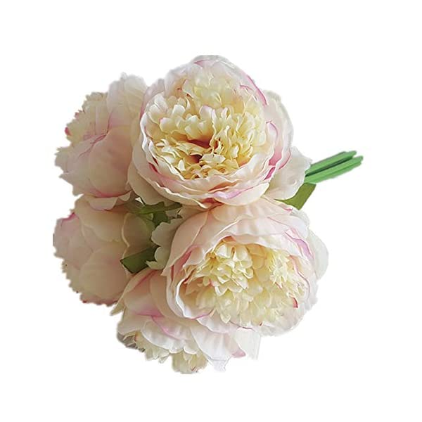 Eternal Blossom Silk Peony Bouquet, 5 Artificial Bouquets Bridal Bouquet Wedding Party Flower Home Garden Decoration