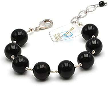 SunTradition Ball - Pulsera de cristal de Murano de Venecia, color negro