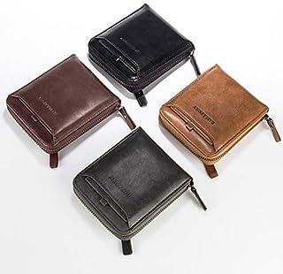 محفظة صغيرة متعددة الوظائف بتصميم سادة عتيق من جلد البولي يوريثين بسحّاب وفتحة للبطاقات للرجال من اكستاوم