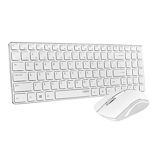 Rapoo 9300T Wireless Slim Keyboard and Mouse Combo, Ultra-Thin Lightweight, Comfortable Silent Keyboards, 2.4G 500/1000 DPI Smooth Portable Mouse, Suitable for Office, School, Business, Travel, White