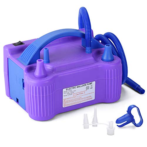 MESHA Electric Balloon Pump Air Pump Inflator Portable Dual Nozzle Blue Air Balloon Pump Filler Inflator/Blower for for Balloon Arch,Balloon Column Stand 110V 600W Air Pump (Purple)