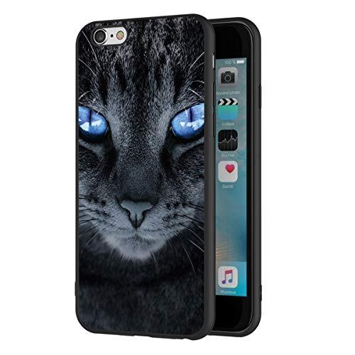 Pnakqil Funda para iPhone 6s Plus/6 Plus Silicona Ultrafina Negra con Dibujos Diseño Suave TPU Antigolpes de Protector Piel Case Cover Cárcasa Fundas Movil para Apple 6splus/6Plus, Gato de Ojos Azul