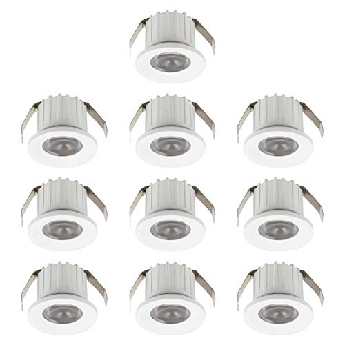 SIGMALED LIGHTING Pack de 10 MINI FOCOS LED 3W, regulable 300 lúmenes, ángulo 30°, bombillas led blanco natural 4000K, alimentación directa 220V/230V, Dimensión Ø35x25mm Eficiencia energética Clase A+
