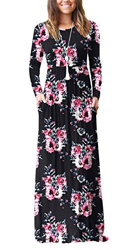 VIISHOW Women's Long Sleeve Floral Dress Loose Plain Maxi Dresses Casual Long Dresses with Pockets(Floral Black,Medium)