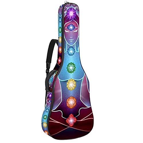 Bolsa de guitarra acústica con múltiples bolsillos acolchado grueso impermeable para guitarra, bolsa de concierto para yoga, posición de loto y chakra, luz de 42,8 x 42,8 x 11,9 cm