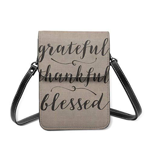 Bolso de hombro pequeño, agradecido agradecido, rústico, con guión damasco, bolsa cruzada para teléfono celular, cartera ligera para mujeres y niñas