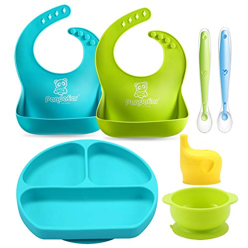 PandaEar Baby Toddlers Infants Feeding Set  Adjustable Silicone Bibs   Suction Bowls  Divided Plates Soft Spoon  Cup Holder & Self Feeding Aids