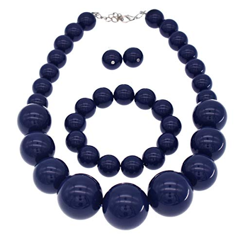 CIOOU Chunky Pearl Necklace 3 Piece Set Pearl Choker Large Beaded Necklace (Navy)
