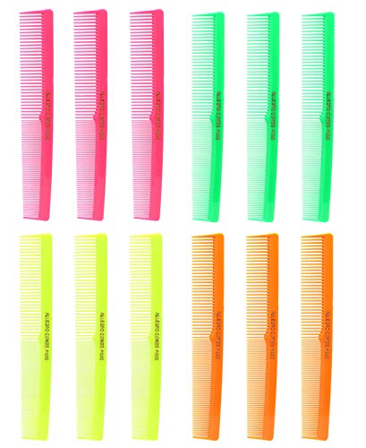 Allegro Combs 420 Barber Combs Set of Combs Hair Cutting Combs Pocket Comb Combs for Hair Stylist Neon Mix 12 pk.