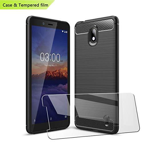 LJSM für Nokia 1 Plus Hülle Schwarz Kohlefaser + Panzerglas Bildschirmschutzfolie Schutzfolie - Weich Schutzhülle Flexibel TPU Tasche Case für Nokia 1 Plus (5.45