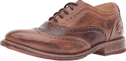 Bed|Stu Lita Women's Oxford Shoe - Leather Wingtip Lace-Up Oxfords - Tan Teak Rustic Mason - Size 6
