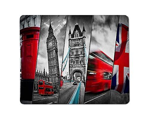 Rechteckiges rutschfestes Mauspad-Symbol-College des britischen Wahrzeichens, London, Großbritannien. Roter Bus, Big Ben, roter Briefkasten und Gaming-Mauspad mit britischer Flagge