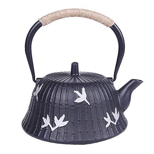 BGROEST-hm Handgemachte Vintage Wasserkocher Große Teekanne, handgemachte Gusseisen Uncoated Teekanne, Novel Formen und Muster Entwurf, 1200ml (Farbe : Schwarz, Größe : 1200ml)