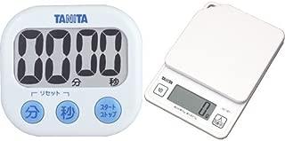 【セット買い】タニタ でか見えタイマー100分 ホワイト TD-384-WH + デジタルクッキングスケール 1kg ホワイト KD-187-WH