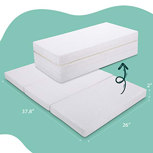 "Tri-fold Pack and Play Mattress Pad, Firm Portable Foldable Playard Mattress Topper, Foam Playpen Mattresses with Removable Waterproof 100% Cotton Cover, 37.8"" x 26"" x 2"", rezi"